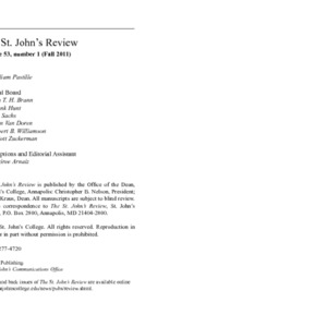 The St. John's Review, Fall 2011
