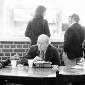 David E. Starr Seated in Conversation with Students in the Coffee Shop in McDowell Hall, St. John's College, Annapolis, Maryland