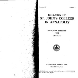 Bulletin of St. John's College in Annapolis:  Announcements for 1933-34