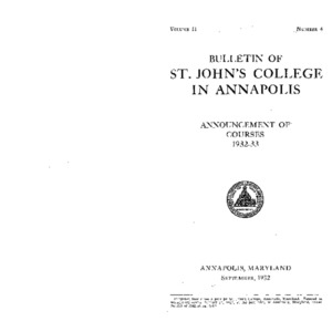 Bulletin of St. John's College in Annapolis:  Announcement of Courses 1932-33