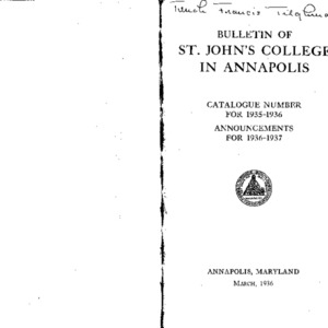 Bulletin of St. John's College in Annapolis:  Catalogue Number for 1935-1936, Announcements for 1936-1937