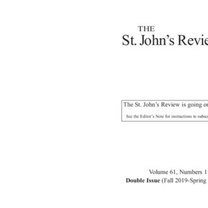 The St. John's Review, Fall 2019-Spring 2020