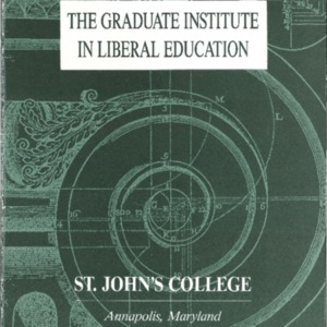 The Graduate Institute in Liberal Education, St. John's College Annapolis, Maryland