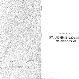 Bulletin of St. John's College in Annapolis:  Official Statement of the St. John's Program; Catalogue 1948-1949, Calendar 1949-1950