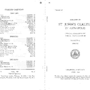 Bulletin of St. John's College in Annapolis: Official Statement of the St. John's Program, Catalogue 1960-1962