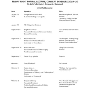 Lecture/Concert Schedule 2019-2020