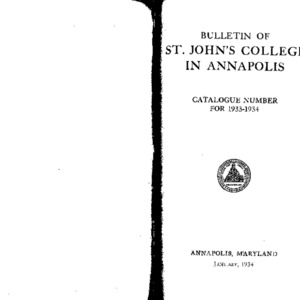 Bulletin of St. John's College in Annapolis:  Catalogue Number for 1933-1934