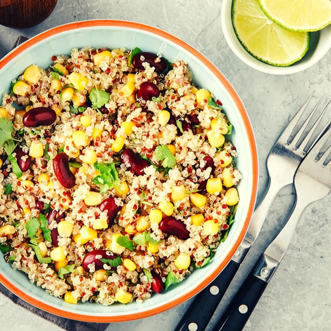 Notre meilleure salade de saison :<br> la salade fraîcheur au quinoa et fruits secs.