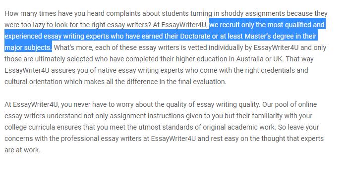 essaywriter4u.com review - Experts 3