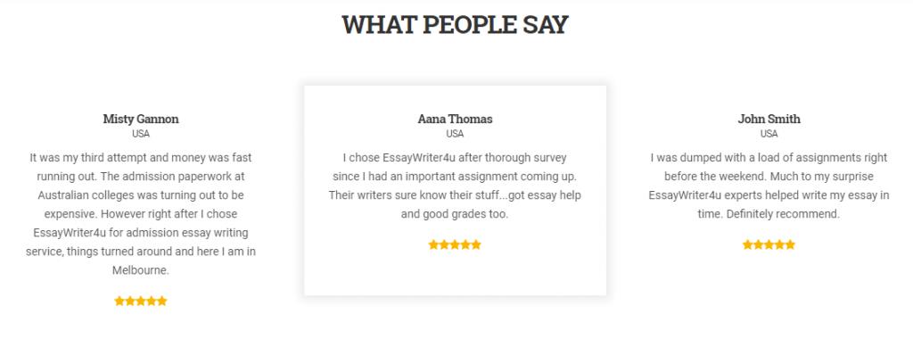 essaywriter4u.com review - Testimonial