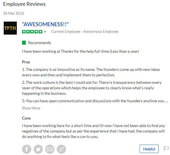 www.thanksforthehelp.com - Employee Review 1