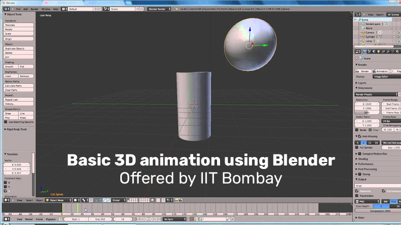 Basic 3D animation using Blender Offered by IIT Bombay (edX)