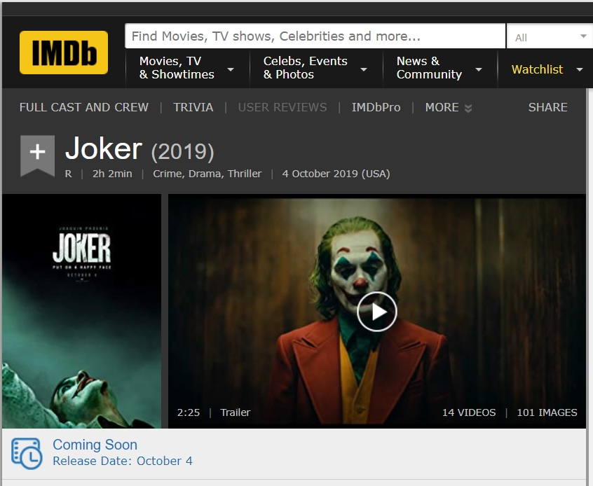 Joker 2019 is rated R