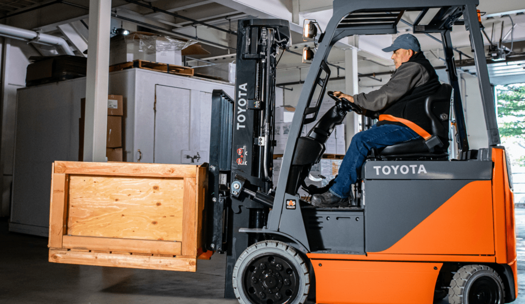 Man riding Core Electric Forklift 8