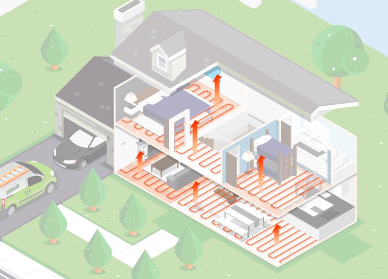 illustration of hvac furnace unit in home
