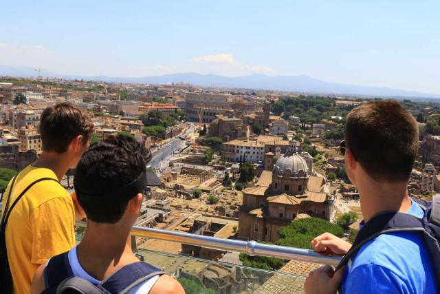 High school teens enjoy the views of Rome on their summer program to Italy.