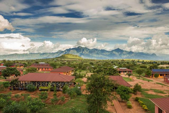 Students enjoy views from the campus of a school in Tanzania during their summer service and travel program.