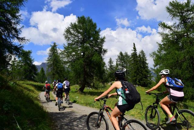 Teenage travelers biking in summer Swiss Alps