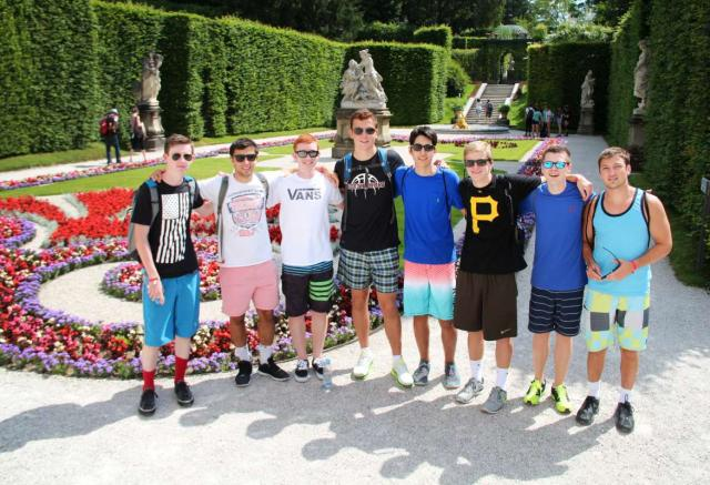 Teens in gardens on summer travel program in Europe