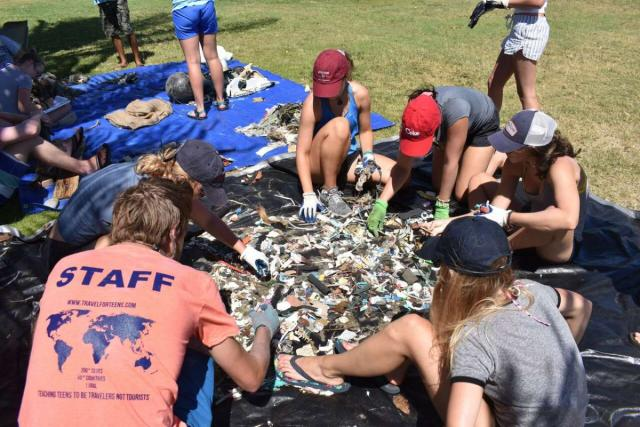 Teens participate in service work on summer travel tour in Hawaii.
