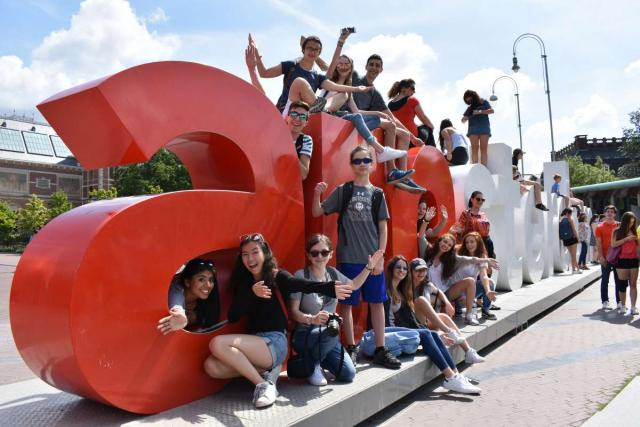 Teenage travelers explore Amsterdam on summer travel program in Europe