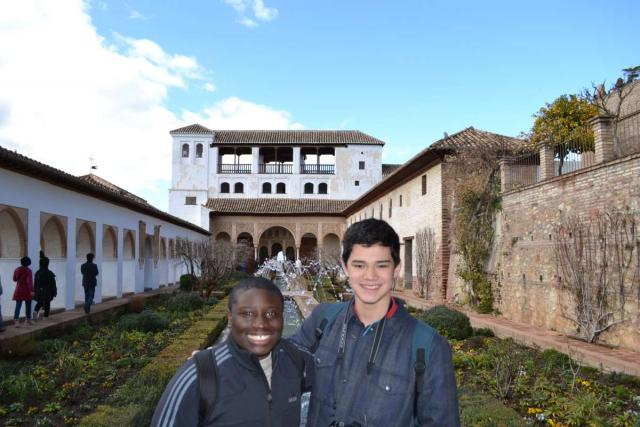 Teenage travelers visit Alhambra in Granada during summer Spanish language immersion program
