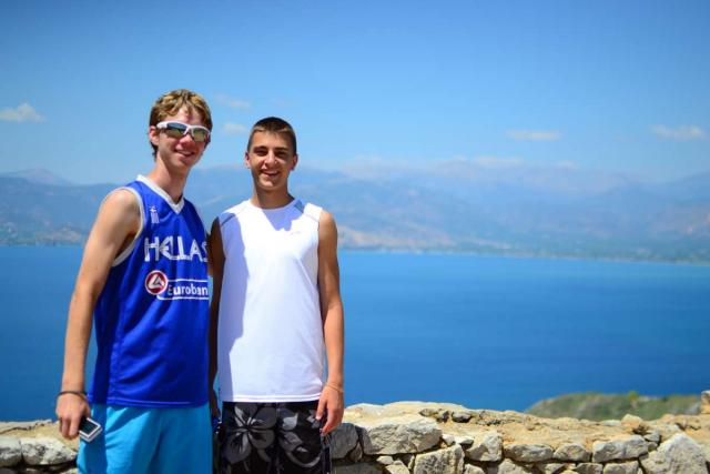 Teens pose in Nafplio on their summer tour to Greece.