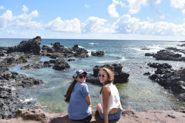 Teens enjoy ocean views on their summer service program in Hawaii.