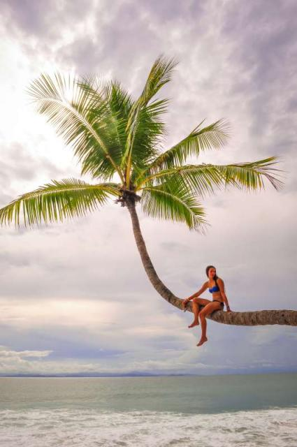 Teen climbs a tree over the water in Costa Rica on summer travel program.