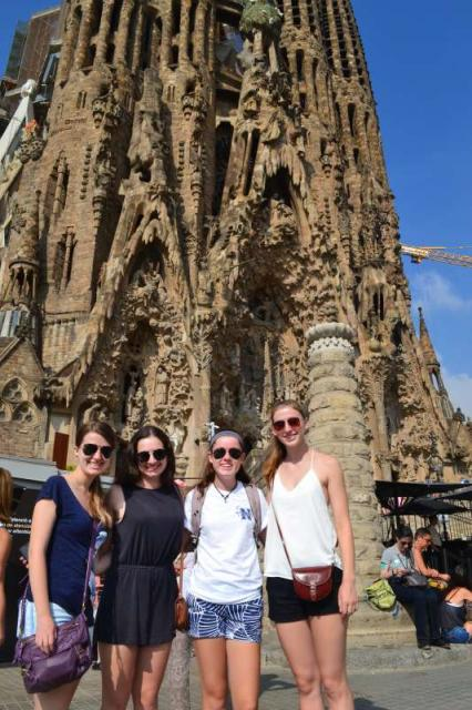 Teenage travelers at Sagrada Familia in Barcelona on summer Spanish language immersion program