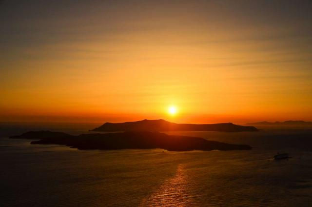 View of sunset over Greek islands seen by student travelers during summer youth travel program in Greece