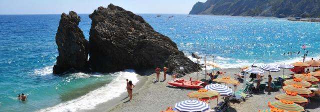 View of Cinque Terre beach and Mediterranean Sea on summer teen travel trip to Europe