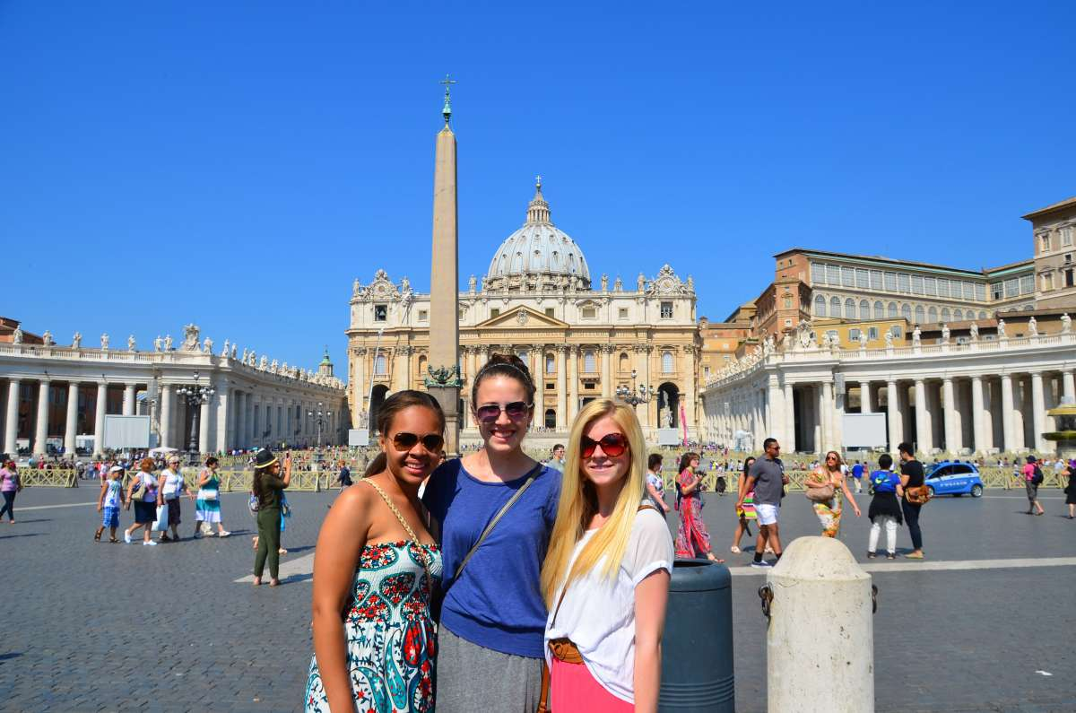Teenage travelers at St. Peter's Basilica in Vatican City on summer teen travel program