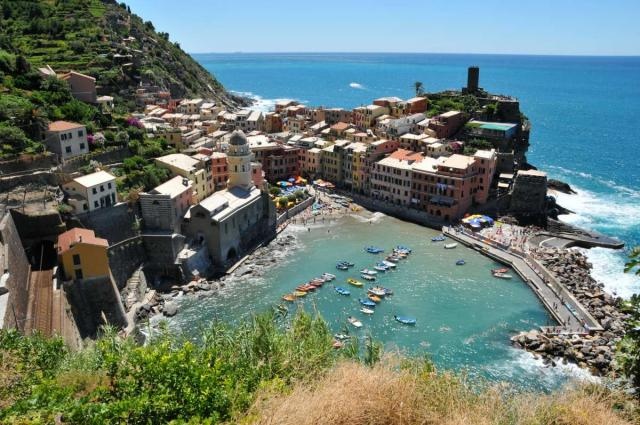 View of Cinque Terre and Mediterranean Sea seen on summer teen adventure travel program