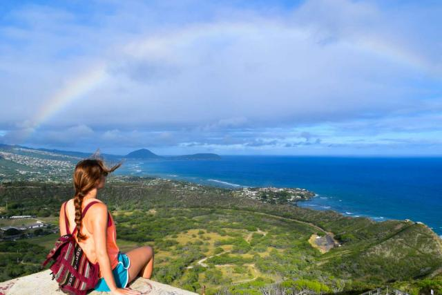 Students enjoy views of a rainbow in Hawaii on their summer travel camp tour.