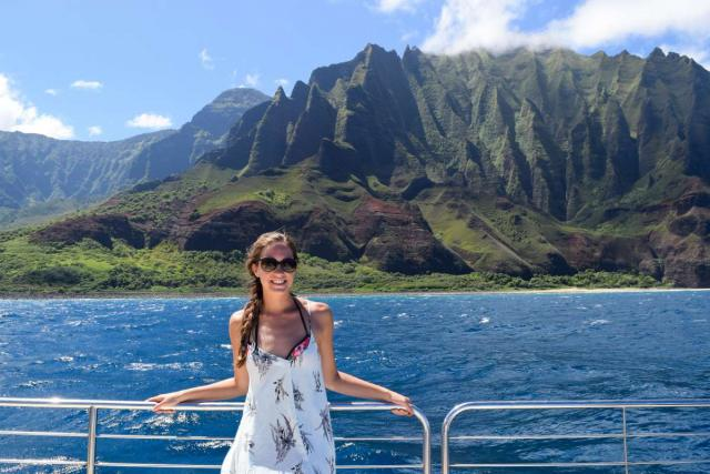 Teens enjoy the views of mountains and the ocean in Hawaii on summer service and adventure program.