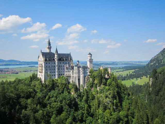 View of Bavarian castle visited by teenage travelers on summer travel program