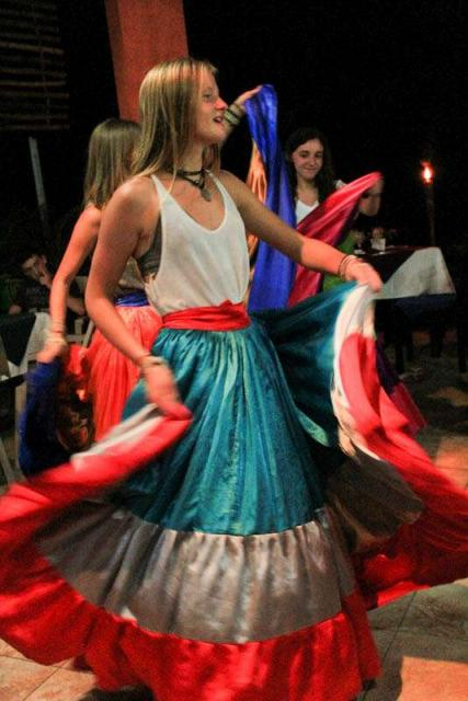 Teens learn traditional dance on summer travel tour of Costa Rica.