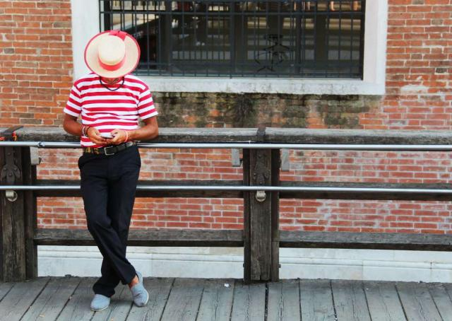 Venice gondolier seen on summer youth travel program in Italy