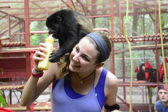 Teens feed recovering animals on their service program in Costa Rica.