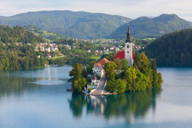 View of Lake Bled Island seen on summer adventure travel program