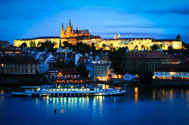 View of Prague at twilight seen from teen travel tour to Europe