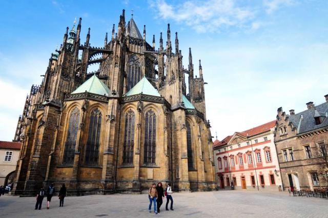 Prague Castle seen from teen travel tour to Czech Republic