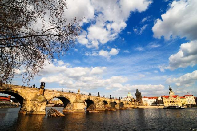 Vltava River seen from teen travel tour to Prague
