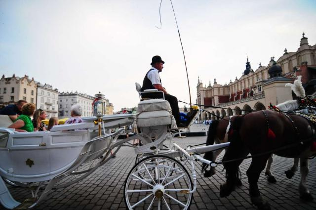 Horse drawn carriage seen on teen travel tour to Krakow