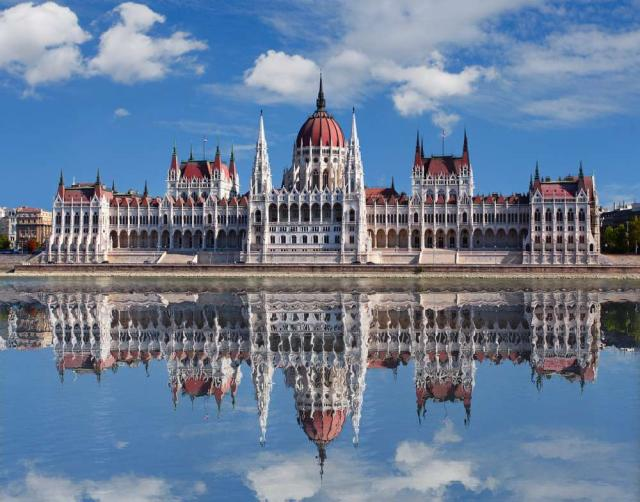 Budapest Parliament seen from teen travel tour