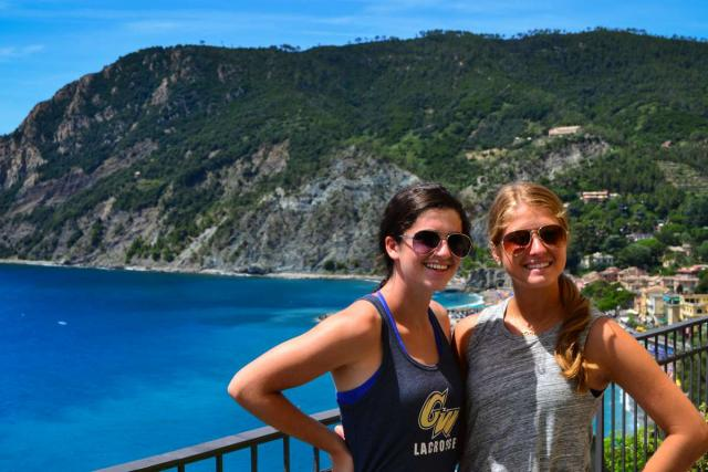 Teens pose for a photo during their Cinque Terre hike on their summer travel program in Italy.