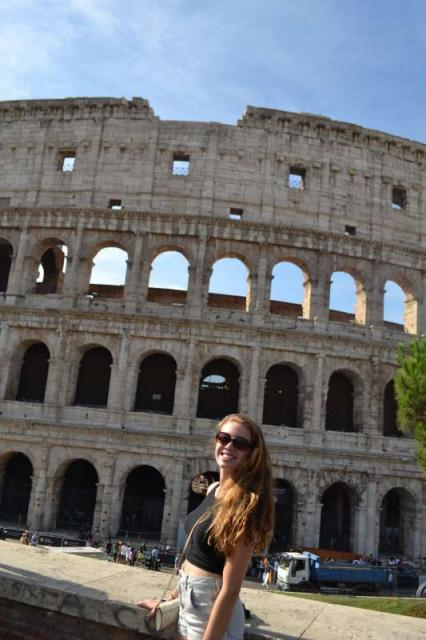 Students explore the Colosseum in Rome during their summer teen tour of Italy.