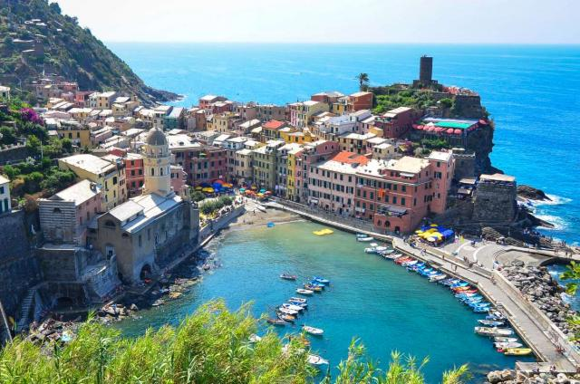 View of Cinque Terre in Italy from a teen travel tour
