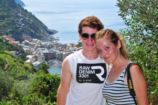 Teenage travelers hiking in Cinque Terre on summer teen travel adventure program
